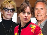 Different cities: Dakota Johnson grabbed dinner in New York City as her mother Melanie Griffith went to a meeting in Beverly Hills, California and father Don Johnson attended a movie premiere in San Francisco