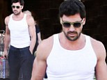 Maksim Chmerkovskiy puts bulging biceps to good use grocery shopping at Bristol Farms in West Hollywood