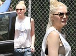 Not your average soccer mom! Gwen Stefani exposes lacy black bra in loose-fitting tank top at preschool
