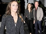 Things are going well! Elizabeth Hurley wows in tweed jacket and skinnies as she enjoys dinner date with boyfriend David Yarrow