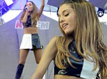 Showing skin: Ariana Grande put her toned figure on display in a revealing mod ensemble as she performed at 102.7 KIIS FM's Wango Tango in Carson, California on Saturday