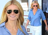Make-up free Gwyneth Paltrow is summer chic in linen shirt and white trousers as stops by her Goop pop-up store