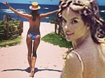 'Follow me baby': Alessandra Alessandra invites a look at her pert derriere in blue print bikini while in Mexico for photo shoot