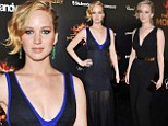 Stunning: Jennifer Lawrence went party-hopping on Saturday, changing from one plunging black gown into another as she navigated from the Hunger Games bash (left) to the Vanity Fair and Armani soiree
