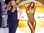 Do you wake up like that, Mariah? Carey is a far cry from heavily airbrushed album image as she dons figure-hugging evening gown for morning show performance