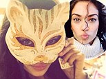 Grrrrl girl: Shanina Shaik showed off her wild side on social media on Saturday, playing up with a mask
