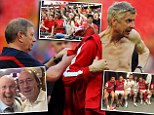 Arsene Wenger forced to go topless after Arsenal team soak him in beer following thrilling FA Cup final win over Hull City