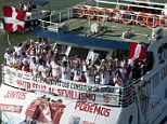 River cruise: Sevilla's stars took to the water to celebrate their Europa League success