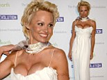 BYO floatation device! Pamela Anderson ensures all eyes are on her in dangerously low-cut frock as she launches eponymous charity aboard a yacht in Cannes