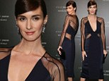 Bella dama! Paz Vega slips into a daringly sheer and low-cut navy dress to attend party in Cannes
