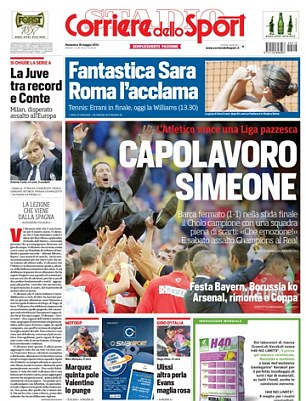 Applause to the champion: Both Mundo Deportivo and Corriere dello Sport hailed Atletico Madrid's title win