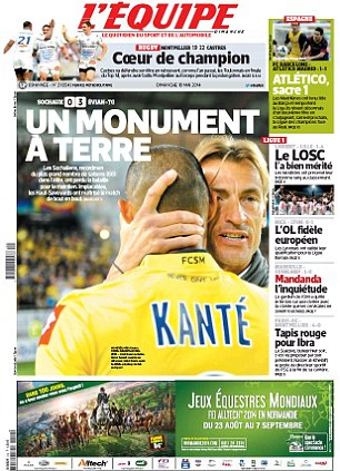 Top and bottom: L'Equipe focused on Sochaux's Ligue 1 relegation while TuttoSport spoke with Andrea Pirlo