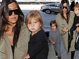 Here comes the bride's sister! Kourtney Kardashian jets out of LAX with her two kids and heads to Paris for Kim's wedding
