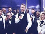 Video call in: Justin Timberlake accepted one of his two big awards that night for his comeback album 20/20 Experience