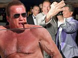That sure beats retirement! Arnold Schwarzenegger, 67, puffs on a cigar as he sunbathes shirtless in Cannes... then dances the night away with Sly Stallone