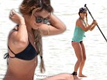 Wet and wild! Vanessa Hudgens makes a splash in a bikini before paddleboarding at Ashley Tisdale's bachelorette weekend
