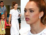 Jessica Alba beats the heat in white lace skirt and matching top as she enjoys family day out with husband and daughters in LA