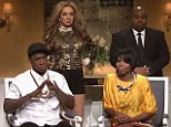 SNL spoofs Solange and Jay Z's elevator fight as Maya Rudolph makes special cameo as Beyonce while Andy Samberg hosts