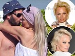 Pamela Anderson swaps pixie cut for long extensions as she canoodles with husband on the beach in France... but it's back to her roots for the Vanity Fair party