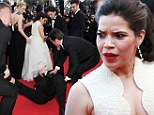 America Ferrera ambushed by serial red carpet pest who attempts to climb under her dress at Cannes Film Festival