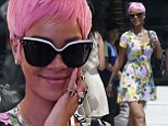 Pretty in pink! Rihanna changes her style and embraces feminine florals to match her new hairstyle