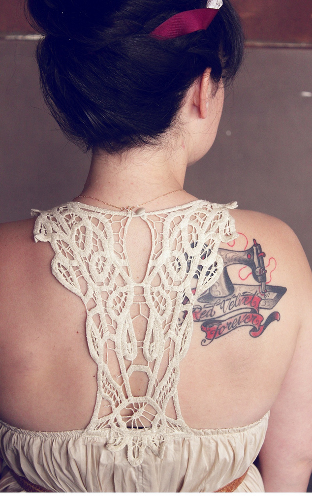 Dress Back Detail and Tattoo