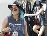 Punk is the new pretty: Kylie Jenner brightens up her rock chick look with bright blue hair whilst shopping in LA