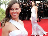 Hilary Swank dazzles in bridal-style gown at Cannes premiere of The Homesman ... as it is greeted with rave reviews