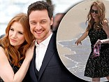 Jessica Chastain cosies up to James McAvoy on the red carpet, before cooling off by dipping her toes in the sea