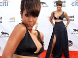 Risque: Kelly Rowland wore an edgy black ensemble to the Billboard Music Awards in Las Vegas on Sunday
