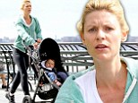 Make-up free Claire Danes works up a sweat with vigorous jog as she displays her toned pins in black leggings