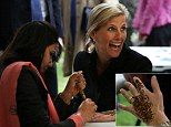 The Countess of Wessex looked on in wonder as a Pakistani artist gave her a pre-wedding henna tattoo. The 49-year-old looked thrilled with the results of artist Humaira Rehrel¿s bridal tattoo