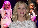 Lovely in lace: Reese Witherspoon attended the charity auction in a beautiful white long-sleeved lace dress and highlighted her toned stems in hot pink high heels that matched her lipstick and pedicure
