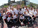 Team effort: Arsenal's FA Cup winning side return to the Emirates for a group photo