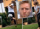 Tekkers: Andre Schurrle's girlfriend Montana Yorke proves she's got football skills in the garden