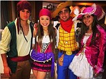 Dress up: Liverpool's Phillipped Coutinho (left) and Man Utd's Rafael attend a fancy dress party in Brazil