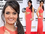 Danica McKellar looks super toned in a red-hued clingy dress at the Billboard Awards 2014 in Las Vegas
