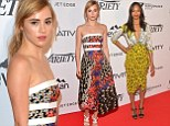 That's how you do print! Suki Waterhouse wows in colourful strapless dress while Zoe Saldana stands out in plunging yellow look at Relativity at 10 party