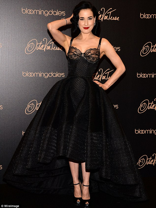 Glamour: Dita Von Teese, 41, was seen at the launch of her new lingerie collection for Bloomingdales at the Century City Shopping Mall in Los Angeles on Sunday
