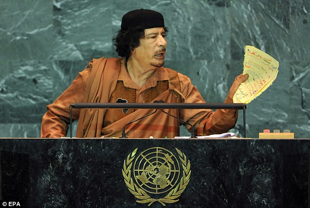 The country has struggled to implement an effective government since Gaddafi (pictured) was toppled in 2011