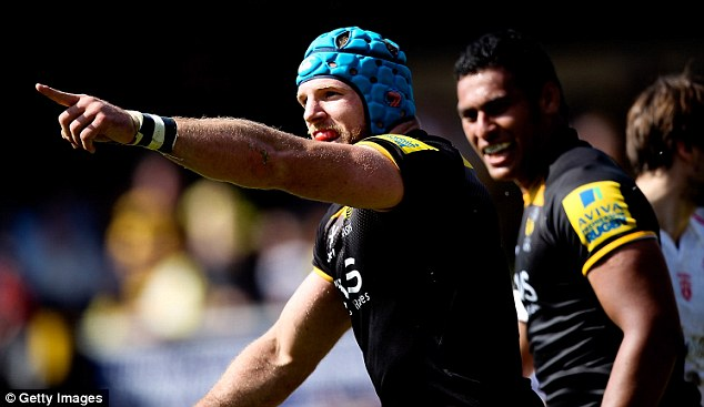 Unlucky: James Haskell of Wasps celebrates after scoring a try which is later disallowed