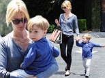 Betty has a lot to learn! January Jones keeps her adorable son Xander close during day out together while showing off trim pins in black skinnies