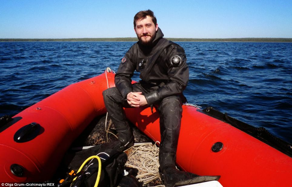 Alexander Semenov, pictured after a cold-water dive in the White sea Russia, will lead the team of 12 on their epic journey