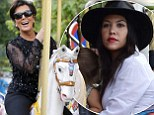 Kourtney Kardashian takes Mason and Penelope on Eiffel Tower carousel but granny Kris is having all the fun