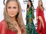 She can still pull it off! Jennifer Lopez recreates famous Grammys look in plunging chiffon dress and knickers... 14 YEARS later
