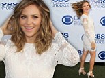 A hair-raising entrance! Katharine McPhee wears thigh-skimming dress to CBS soiree as she playfully whips her curls around
