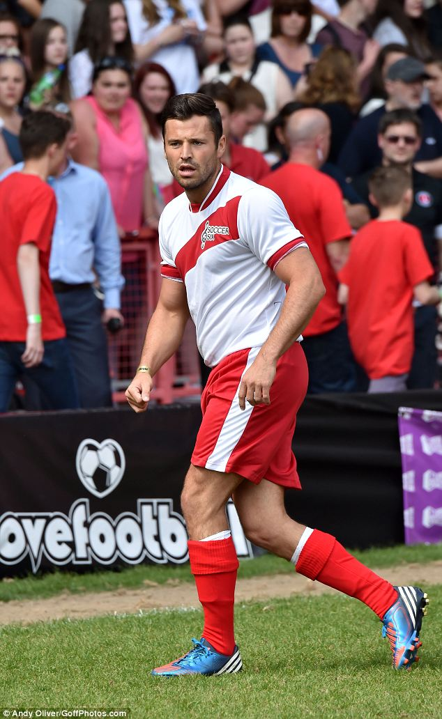 Sporty: Mark competed in the Celebrity Soccer Six tournament at Charlton Football Club, London, on Sunday