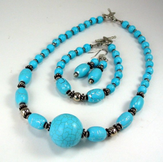 Turquoise Enchantment - Necklace, Bracelet, and Earrings