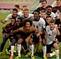 Shot at glory: England's Under 17s celebrate their European Championship semi-final win over Portugal, setting up Wednesday night's final with Holland