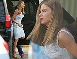 Cool as ice: Sofia Vergara sizzles in the Louisiana heat in an ice blue body con dress as she films Don't Mess with Texas